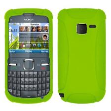AMZER Silicone Soft Skin Jelly Fit Case Cover for Nokia C3 - Green