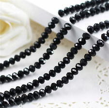 DIY Jewelry Faceted 95pcs 4x6mm Rondelle Glass Crystal Beads Black