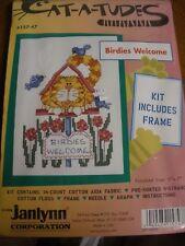 NEW cross stitch kit Cat-a-tudes #157-47 Birdies Welcome Janlynn 1996
