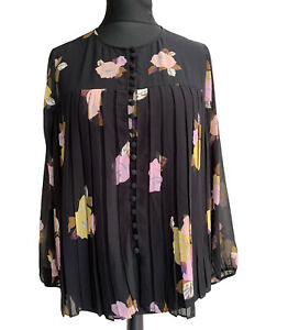 Massimo Dutti Blouse Top Size 14 EUR 42 Black Chiffon Pleated Boxy Floral Party