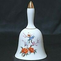 """Vintage Japanese Blue Bird Floral White Bell (bell missing) 5-1/2"""" Preowned"""