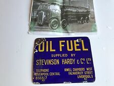 ENAMEL ADVERTISING  SIGN OIL FUEL STEVINSON HARDY & CO LORRY GARAGE STATION