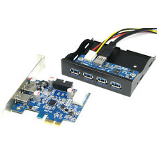 """PCI-e Express USB 3.0 Card Adapter +3.5"""" 4-Port USB3.0 Expansion Bay Front Panel"""
