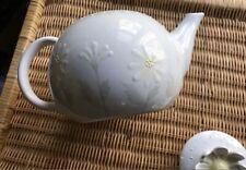 Block Teapot Loves Me by Deb Mores 1999 Daisy Pastel & White Porcelain Vintage