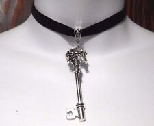 BLACK VELVET SILVER HIPPOCAMPUS KEY CHOKER seahorse steampunk gothic necklace A4