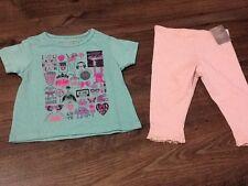 Baby Girls 6-9 Months Green T-Shirt & Leggings & Next Pink Leggings - New