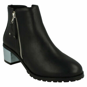 F5R0633 ANNE MICHELLE LADIES BLACK CASUAL MID BLOCK HEEL WINTER ANKLE BOOTS SIZE