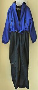 Vintage EBTEK Eddie Bauer Ski/Snowboard Suit Women 14 Tall Black & Blue 1 piece