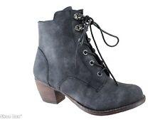 No Shoes Kristina Lace Up Low Block Heel Ankle Boots Women's AU 5-10