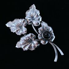 Danish silver brooch made by N.E.From and set with 1 Black Onyx cap. 7mm