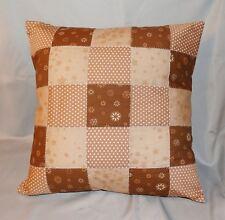 Dekokissen Patchwork Quilt Kissenhülle 40 x 40 cm - beige / braun - Handarbeit