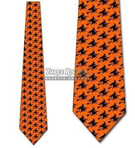 Flying Witch Silhouette Repeat Ties Halloween Tie Men's Orange Ties Brand New