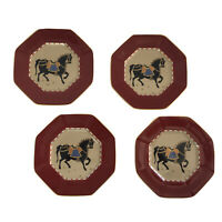 Fitz and Floyd CEREMONIAL HORSE Octagon Plates Set of 4 Gold Trim 1981 NOS