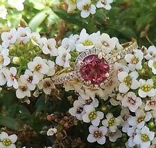 Pink Tourmaline Engagement Ring Gold Halo Diamond Wedding Ring Pink Gemstone