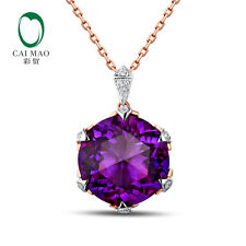 18K White & Rose Gold 7.22ct Natural Amethyst & 0.09ct Full Cut Diamond Pendant