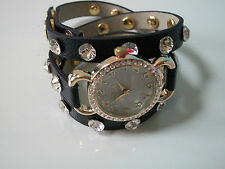 Gold/Black Wrap Around  with Bling Sparkly Rhinestones Crystals Fashion Watch