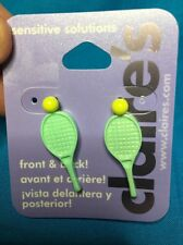 One Pair Of Claire's Tennis Racket And Ball Front And Back Earrings