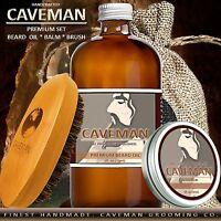 Hand Crafted Caveman® Beard Oil Conditioner + Beard Balm + Brush KIT 18 Scents