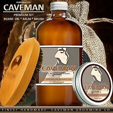Hand Crafted Caveman® Beard Oil Conditioner + Beard Balm + Brush KIT 18 Scents
