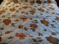 EMBROIDERED SILK TAFFETA, FLORAL,WHITE, ROSE,BY THE YARD