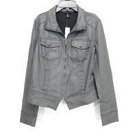 New White House Black Market Womens Gray Coated Band Comfort Stretch Jacket - 10