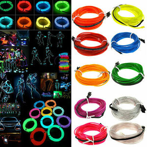 Glow EL Wire String Neon LED Light Strip Rope Tube Decor Car Party + Controller
