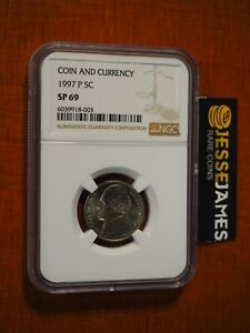 1997 P JEFFERSON NICKEL NGC SP69 FROM COIN AND CURRENCY SET BROWN LABEL 5C