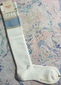 Tabio Japan X Bally Mens Long Ribbed Socks White OceanSpray Blue UK 9-12 EU43-47