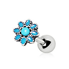 "316L Stainless Steel Antique Turquoise Color  Flower Cartilage Earring 1/4"" 16g"