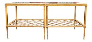 Antiqued Gold Contemporary Iron And Glass Top Side Tables Or Coffee Table