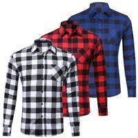Rétro Hommes hauts Cotton Casual Plaid Shirts Pocket Long Sleeve Slim Flannel