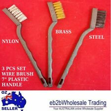 """WIRE BRUSH 3 Pcs Set 7"""" Plastic handle Straight wire Steel Brass and Nylon Clean"""