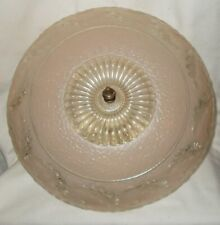 "Antique  Art Deco Light Fixture 3 Bulb Pattern Glass 14 "" Shade Porcelier Holder"