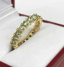 14k Solid Yellow Gold Eternity Ring Natural Light Green Sapphire. Sz 6.5. 3.50Gr