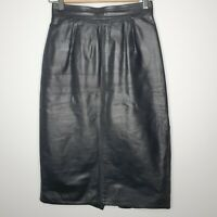 Vintage St Michael M&S Black Genuine Leather Pencil Midi Skirt UK 10 Eur 38 Wow
