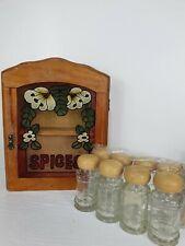 Vintage Spice Cupboard Storage Coloured Glass Door Wooden Country Kitchen Jars