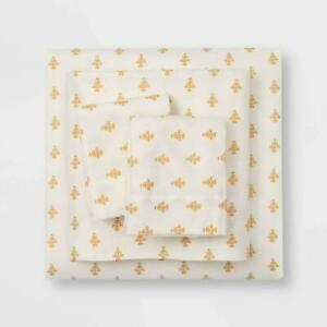 NEW Threshold 4 PC Queen Gold Vintage Floral Print Flannel Sheet Set SHIPS FREE
