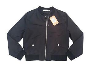 Girls Black Bomber Jacket BHS TAMMY GIRL RRP £20 Coat Summer Lightweight BNWT