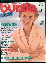 BURDA ITALIA 2 FEBBRAIO 1992 MODA ITALIAN FASHION MAGAZINE