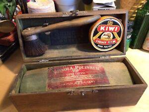Antique Shinola Shoe Polishing Tourist's Outfit Advertising Wooden Box Display