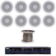 """4 Channel Speaker Selector, 6.5"""" 250W 2-Way Ceiling Speakers, 100FT Speaker Wire"""