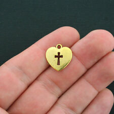 10 Cross Charms Antique Gold Tone 2 Sided Heart with Cross- GC393