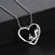 """CAT-LOVERS LOOK......SILVER EP & CRYSTAL """"HEART CAT"""" NECKLACE PENDANT & CHAIN"""