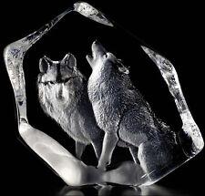 Mats Jonasson Pair of Wolves Crystal Sculpture/Statue/Figurine 33723- Brand New!