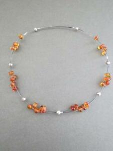 Vintage Silver Amber Choker Necklace Mid Century