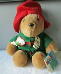 "1996 Paddington Bear 18"" Holiday Fun Stuffed Plush w/ Green Felt Coat & Hat"