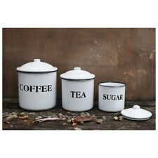 Kitchen Canisters - Coffee Tea & Sugar White Lidded Enameled Metal - Set of 3