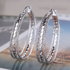 Classical earring 18k white gold filled charm promise Snap Closure hoop earring