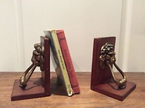 Vintage Real Hide Lion Decorative Bookends set of 2 Leather Brass Resin Gift