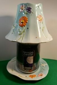 RARE YANKEE CANDLE WATER GARDEN J/S dish & SHADE SET, 22oz MIDSUMMERs NIGHT CAND